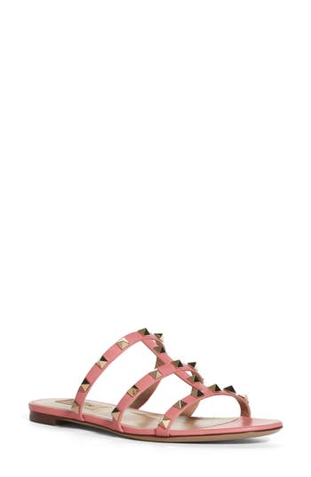 VALENTINO Rockstud Caged Flat Slide Sandal in Salmon Leather