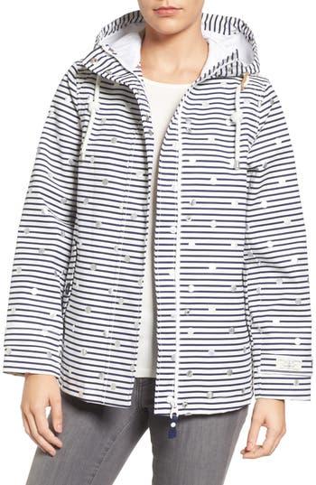 Joules Right As Rain Print Waterproof Hooded Jacket, Metallic
