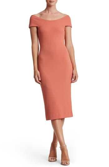 Women's Dress The Population Claudette Textured Dress, Size Small - Orange