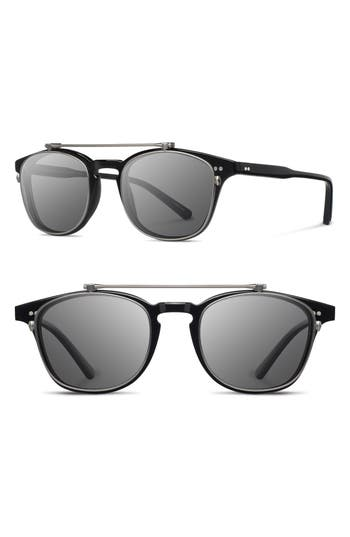 Women's Shwood Kennedy 50Mm Polarized Sunglasses - Black/ Grey Polar