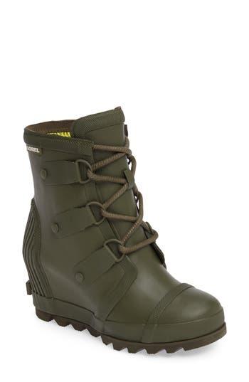 Sorel Joan Wedge Rain Boot- Green