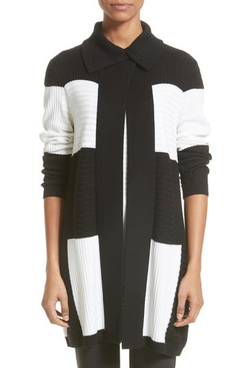 Women's St. John Collection Intarsia Colorblock Cardigan