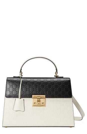 Gucci Medium Padlock Top Handles Signature Leather Satchel -