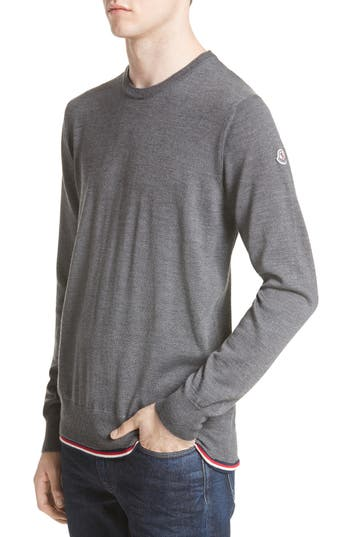 Moncler Maglione Tipped Wool Sweater, Grey
