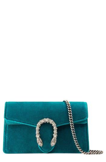 Gucci Super Mini Dionysus Velvet Shoulder Bag - Blue