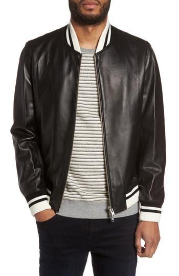Men's Slate & Stone Leather Bomber Jacket
