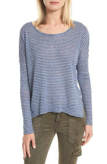 Women's Joie Faya Stripe Linen Sweater, Size X-Small - Blue