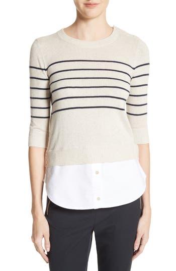Women's Veronica Beard Mariner Stripe Combo Sweater, Size Medium - Ivory