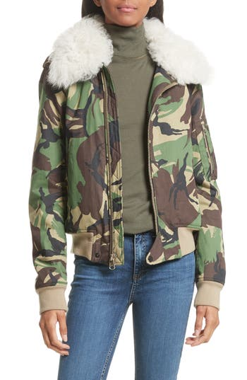 Rag & Bone Camo Flight Jacket With Geniune Shearling Collar, Green