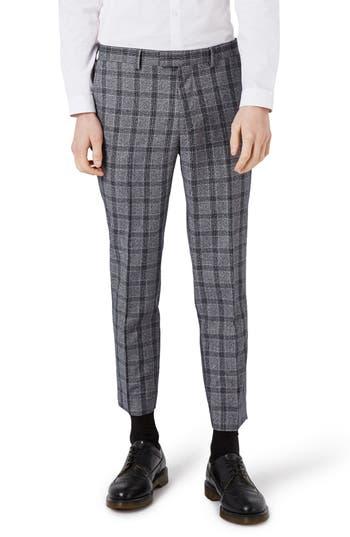 Men's Topman Skinny Fit Plaid Crop Suit Trousers