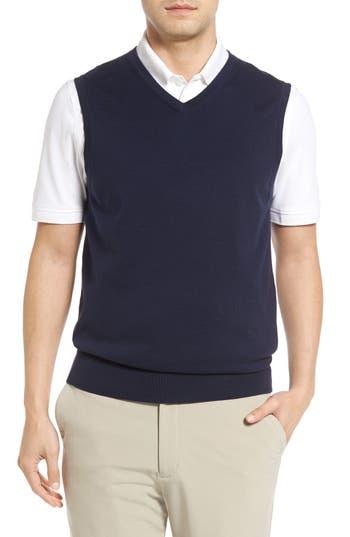 Big & Tall Cutter & Buck Lakemont V-Neck Sweater Vest, Blue