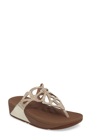 Fitflop Bumble Crystal Flip Flop, Metallic