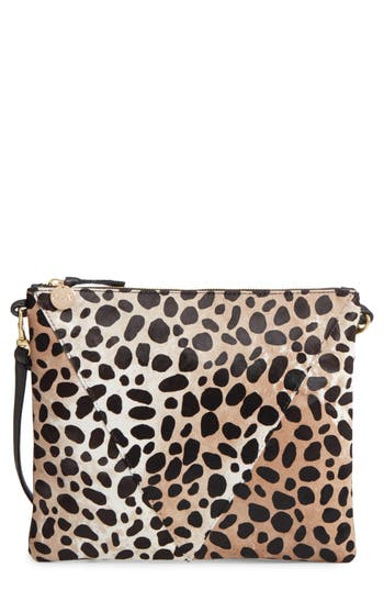 Clare V. Leopard Print Genuine Calf Hair Crossbody Bag - Green