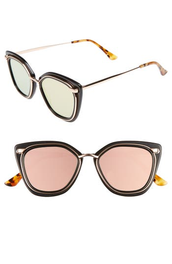 Women's Bonnie Clyde Temple 52Mm Sunglasses - Black And Pink