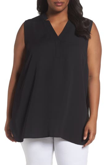 Plus Size Nic+Zoe Forget Me Not Top, Black