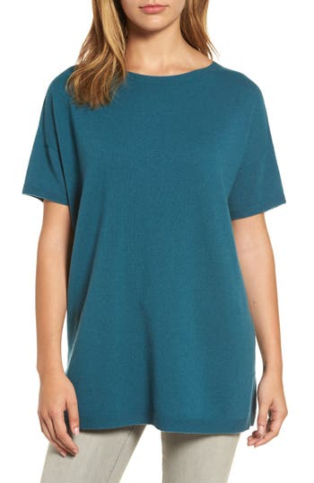 Women's Eileen Fisher Cashmere Tunic Sweater, Size XX-Small - Blue/green