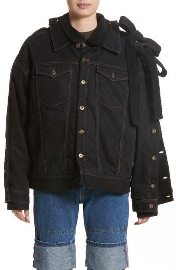 Women's Y/project Double Layer Denim Jacket With Faux Shearling Collar, Size X-Small - Black