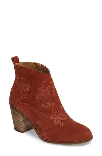 Women's Lucky Brand Pexton Embroidered Bootie, Size 5 M - Red