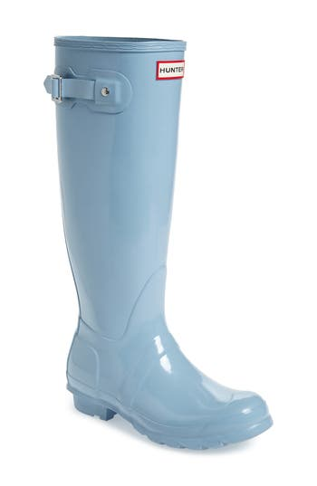 Women's Hunter Original High Gloss Boot, Size 6 M - Blue