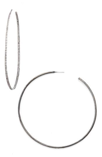 Women's Cz By Kenneth Jay Lane Skinny Inside Out Hoop Earrings