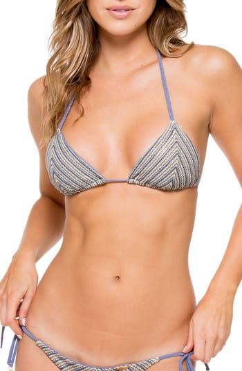 Women's Luli Fama Crochet Triangle Bikini Top, Size Small - Blue