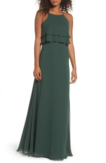 Women's Jenny Yoo Charlie Ruffle Bodice Gown, Size 0 - Green