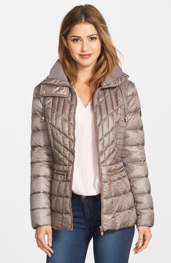 Bernardo Packable Jacket With Down & Primaloft Fill, Grey