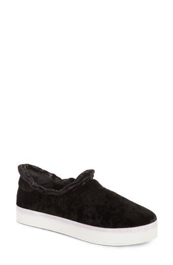 Women's Opening Ceremony Cici Velvet Ruffle Slip-On Sneaker, Size 35 EU - Black