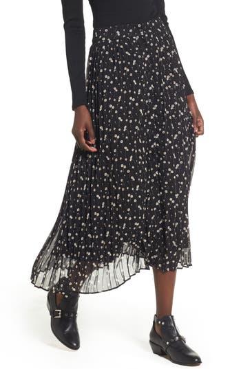 Lost + Wander Leona Floral Print Skirt, Black