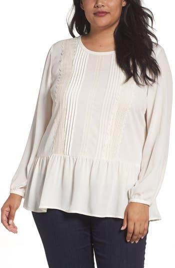 1920s Blouses History Plus Size Womens Sejour Lace Trim Peplum Blouse Size 24W - Ivory $89.00 AT vintagedancer.com