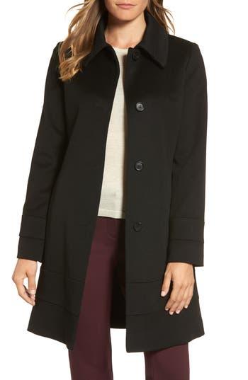 Women's Fleurette Wool Coat, Size 0 - Black