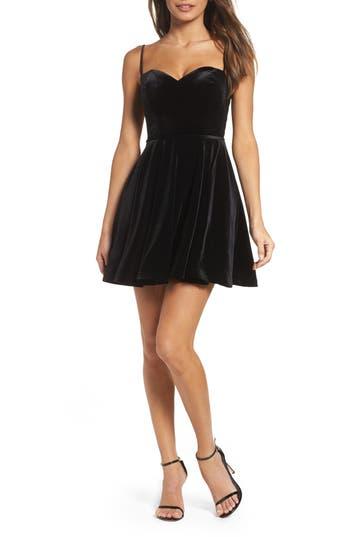 La Femme Strappy Back Velvet Skater Dress, Black