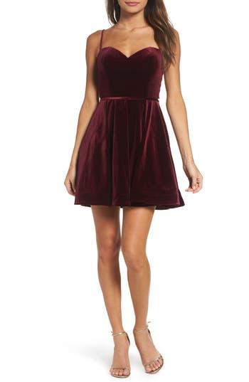 La Femme Strappy Back Velvet Skater Dress, Red