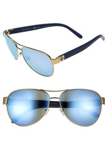 Women's Tory Burch 60Mm Polarized Aviator Sunglasses - Gold