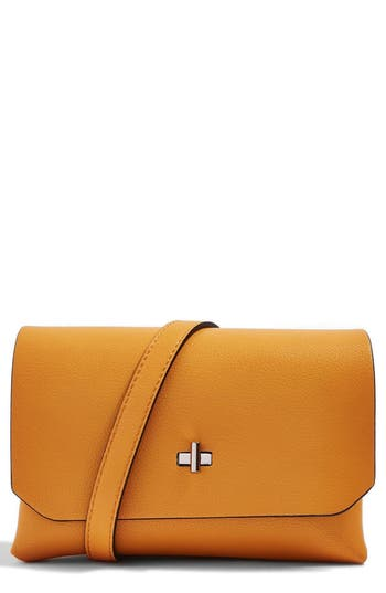 Topshop Otley Faux Leather Crossbody Bag - Yellow