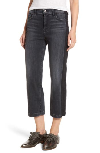 7 For All Mankind Kiki High Waist Crop Straight Leg Jeans, 7 - Black