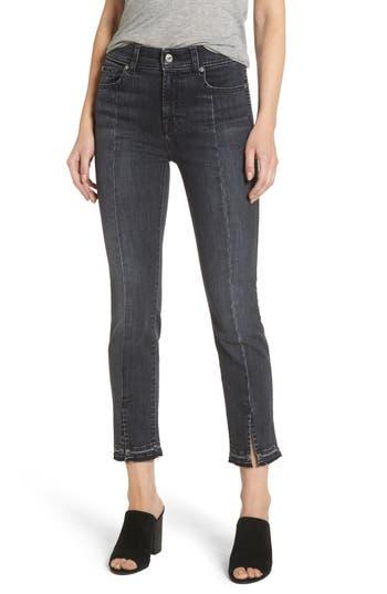7 For All Mankind Split Hem Ankle Skinny Jeans, Black