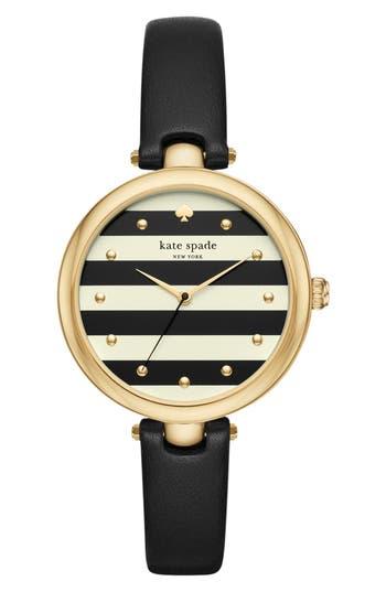 Women's Kate Spade New York Varick Stripe Leather Strap Watch, 36Mm