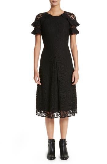 Burberry Zahramf Ruffle Lace Dress, Black