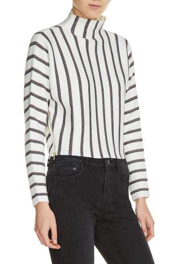 Women's Maje Mesh Stripe Crop Sweater, Size 1 - Ivory