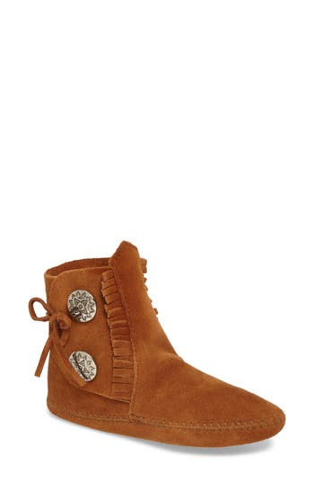 Minnetonka Two-Button Softsole Bootie, Brown
