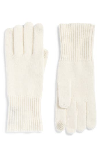 Women's Halogen Rib Knit Cashmere Gloves, Size One Size - Ivory