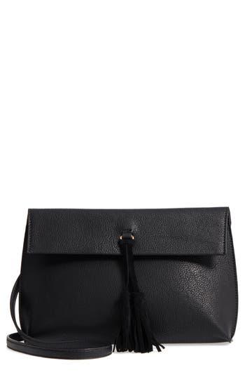 Street Level Faux Leather Tassel Tote - Black