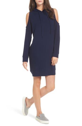 One Clothing Cold Shoulder Hoodie Dress, Blue