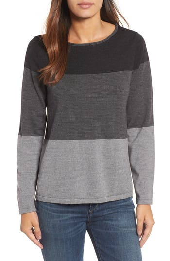 Women's Eileen Fisher Bateau Neck Stripe Merino Wool Sweater, Size Medium - Grey