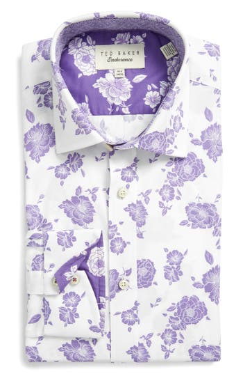 Men's Big & Tall Ted Baker London Trim Fit Floral Dress Shirt
