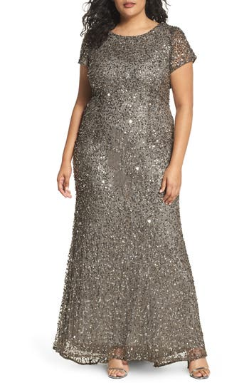 1930s Art Deco Plus Size Dresses | Tea Dresses, Party Dresses Plus Size Womens Adrianna Papell Embellished Scoop Back Gown Size 18W - Grey $312.00 AT vintagedancer.com