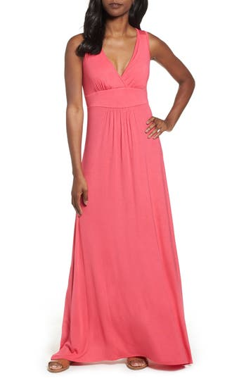 Loveappella V-Neck Jersey Maxi Dress, Pink