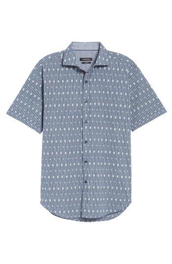 Men's Bugatchi Shaped Fit Diamond Stripe Print Sport Shirt