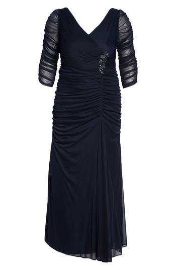 1940s Plus Size Dresses | Swing Dress, Tea Dress Plus Size Womens Adrianna Papell Beaded Mesh Gown Size 22W - Blue $180.00 AT vintagedancer.com